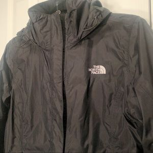 The north face black double lined, rain coat
